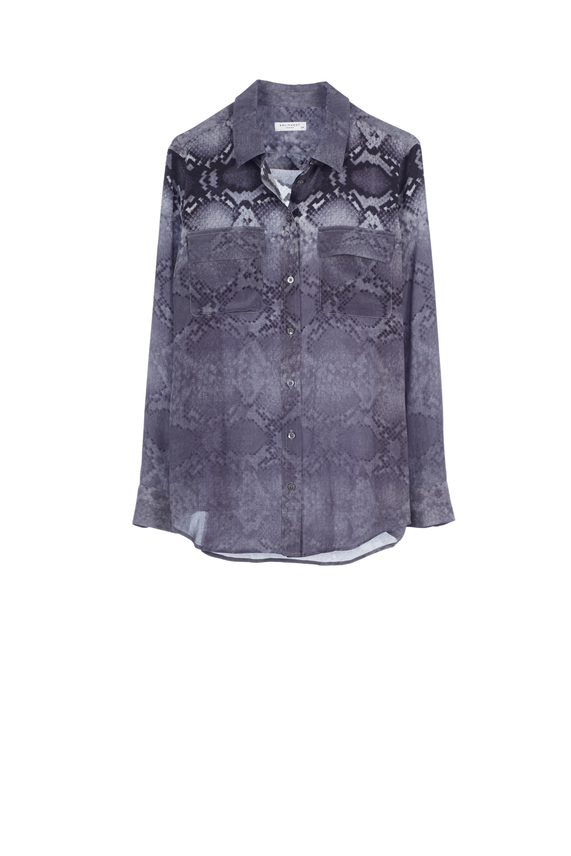 Equipment slim signature silk shirt snake print stick for Equipment signature silk shirt