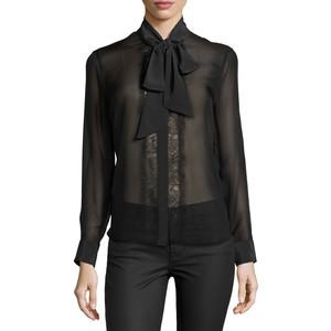 6dd1c9eb53acc Equipment Leema Tie Neck Silk Blouse - True Black - Stick and Ribbon
