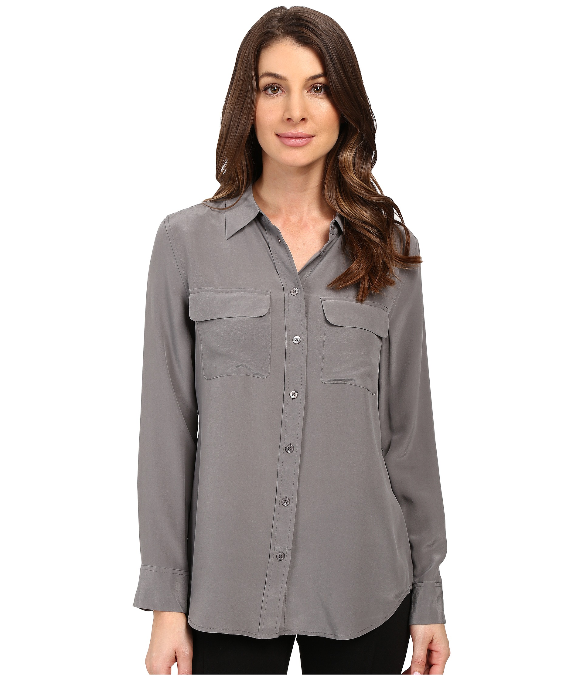 45f1ce7c7e89ef Equipment Slim Signature Silk Shirt - Gunmetal - Stick and Ribbon