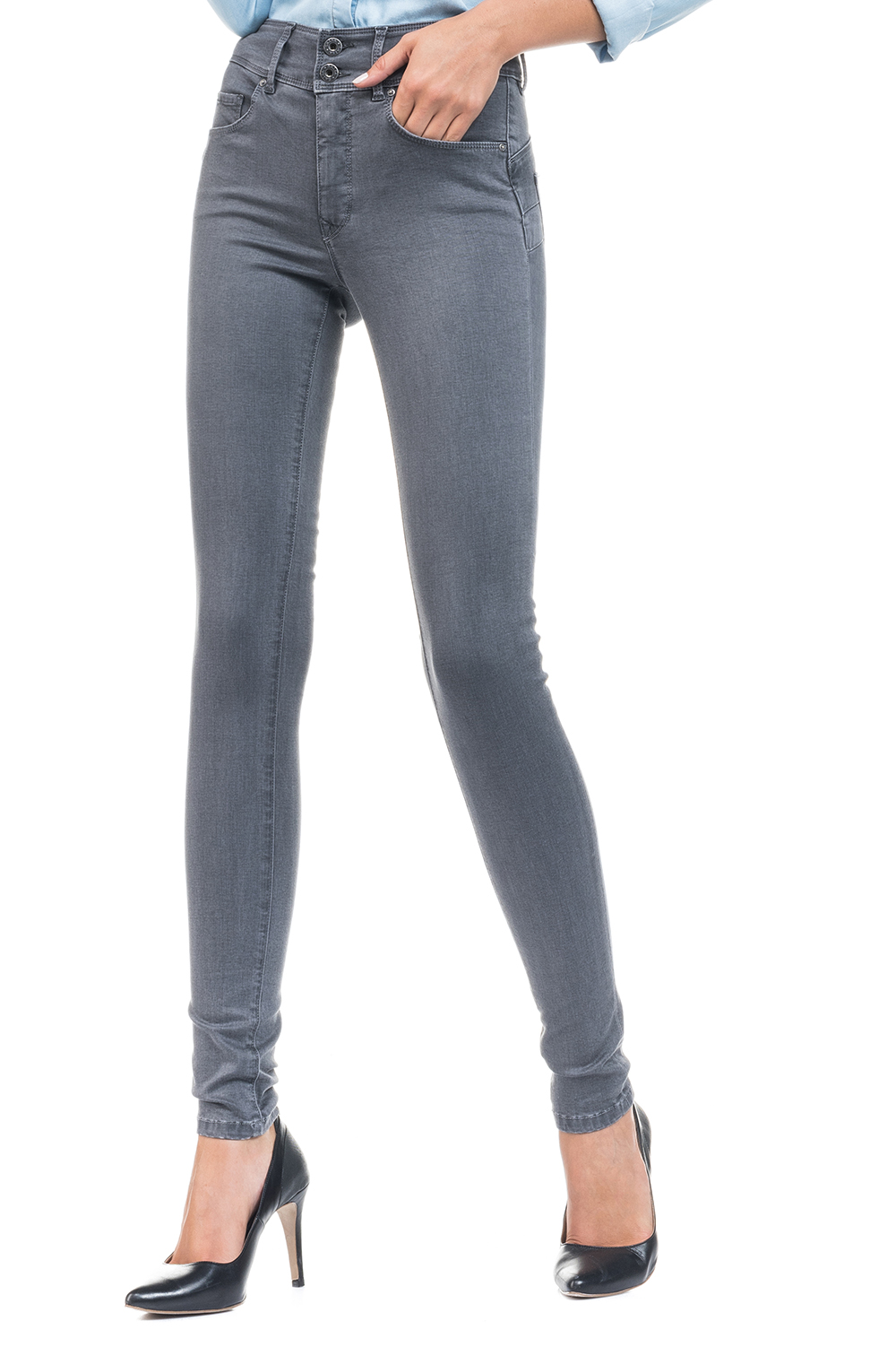 official store look for official Salsa Push In Secret Skinny Jeans - Grey - Stick and Ribbon