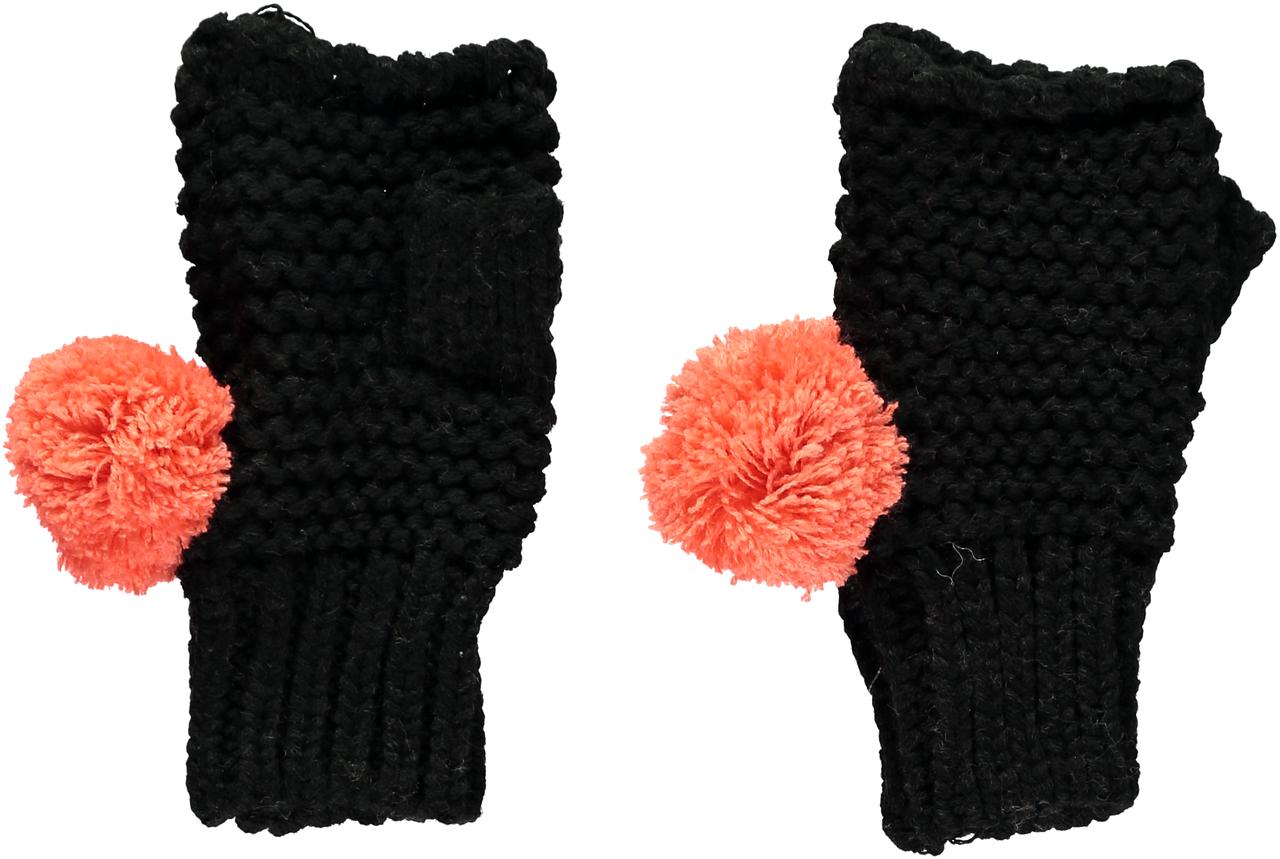 d130a91ccf874 Miss Pom Pom Chunky Knit Fingerless Gloves - Black - Stick and Ribbon